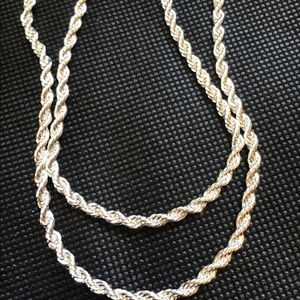 Sterling silver rope chains.